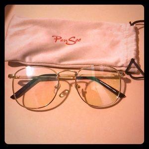 Accessories - Clear Gold Lens Frames - (Retro Semi-Round)